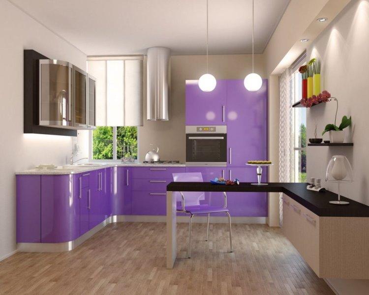 лиловая угловая кухня