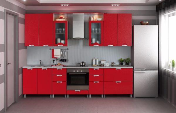 прямая красная кухня мдф