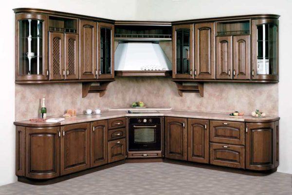 угловая кухня массив дуба