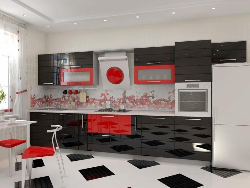 красно-черная кухня из пластика