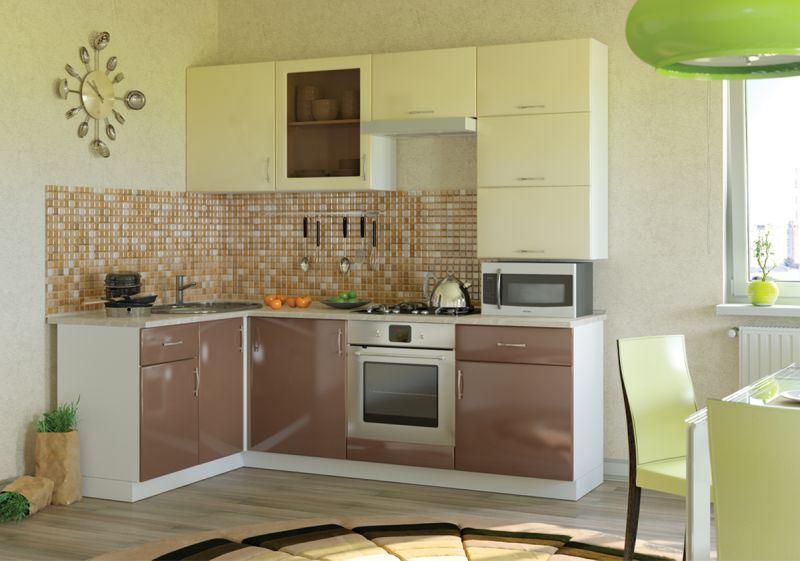 угловая кухня цвета капучино