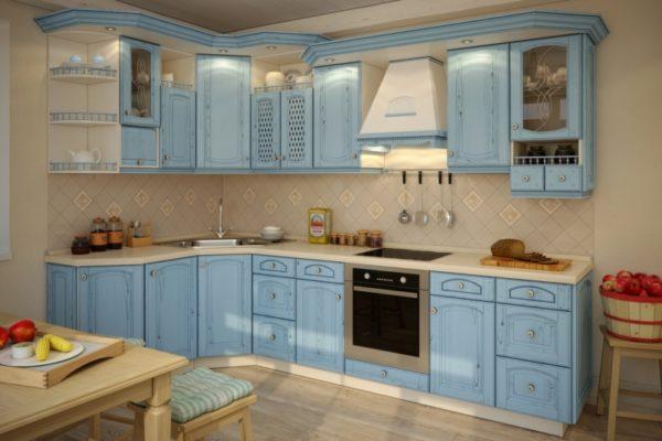 Голубая кухня на заказ