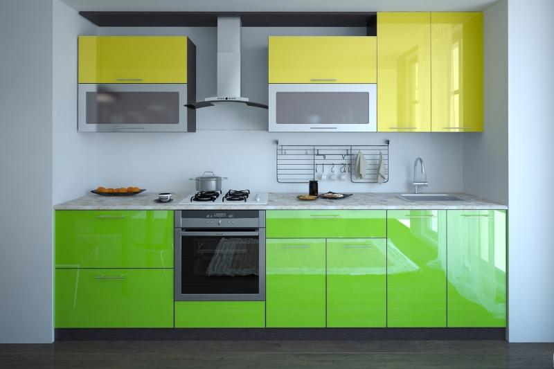 желто-зеленая кухня пластик